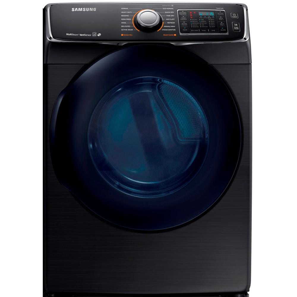 Samsung 7.5 cu. ft. Electric Dryer with Steam in Black Stainless, ENERGY STAR