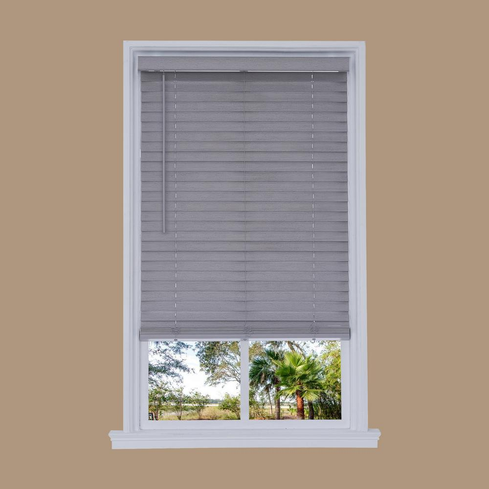 faux window blinds 2 inch this review is fromcuttowidth steel gray cordless in distressed faux wood blind 2625 72 cuttowidth