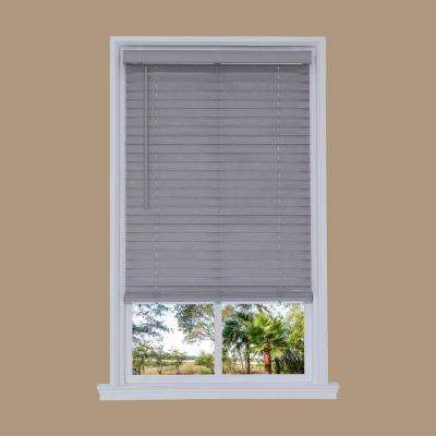 Cut-to-Width Steel Gray Cordless 2 in. Distressed Faux Wood Blind - 34.5 in. W x 72 in. L