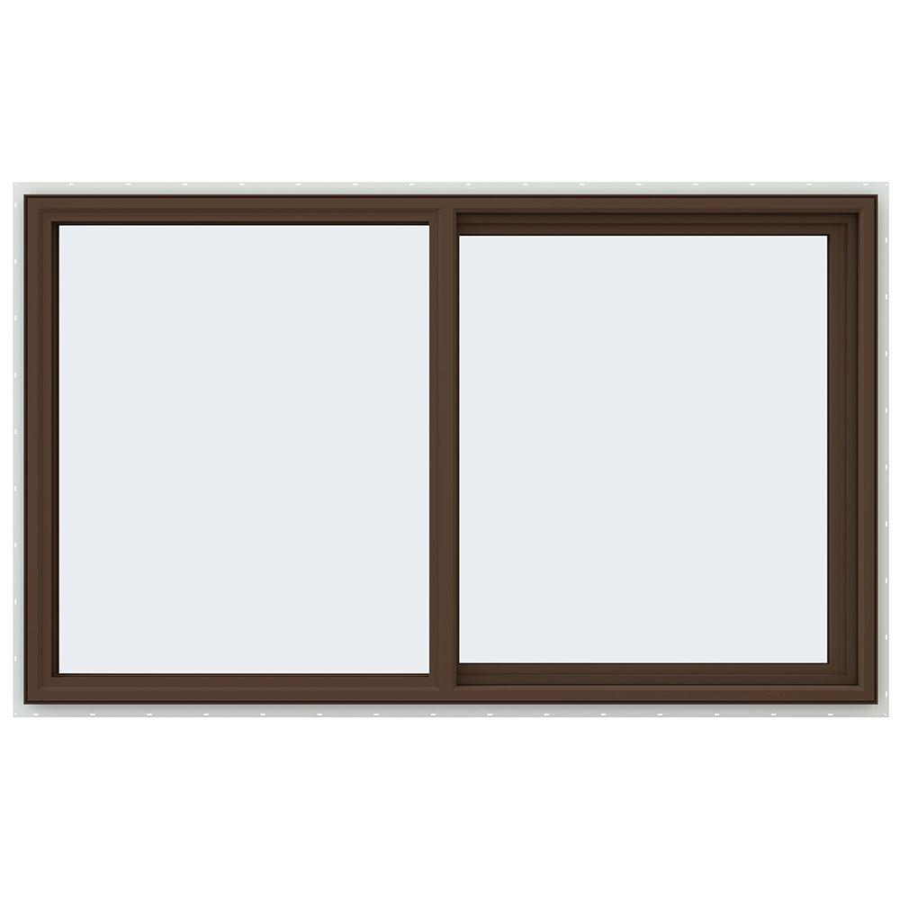 JELD-WEN 59.5 in. x 35.5 in. V-4500 Series Right-Hand Sliding Vinyl Window - Brown