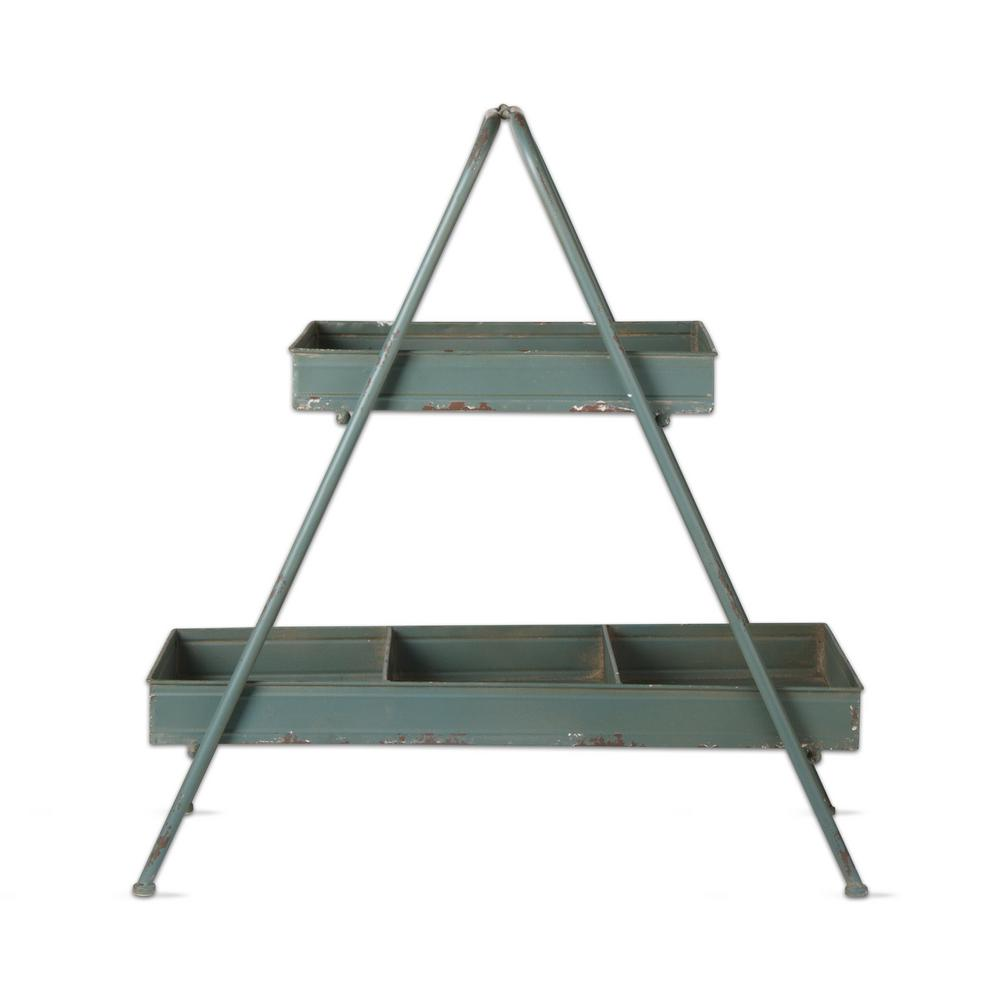 Tag 26 in. x 28 in. Slate Blue Iron 2-Tier Planter Stand