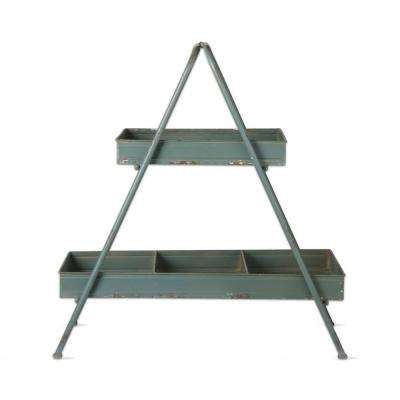 26 in. x 28 in. Slate Blue Iron 2-Tier Planter Stand
