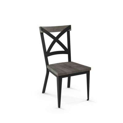 Jasper Black with Grey Wood Seat Dining Chair