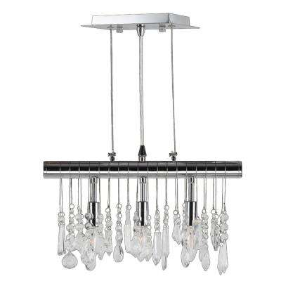 Nadia Collection 3-Light Chrome Clear Crystal Pendant
