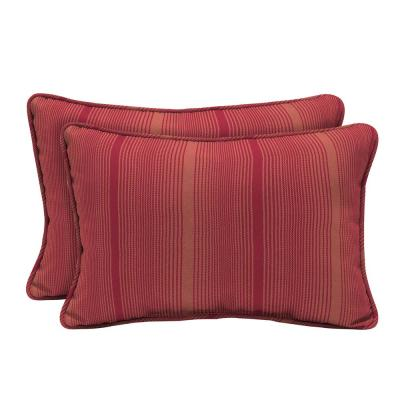 Acrylic Coral Red Stripe Lumbar Pillow (2-Pack)