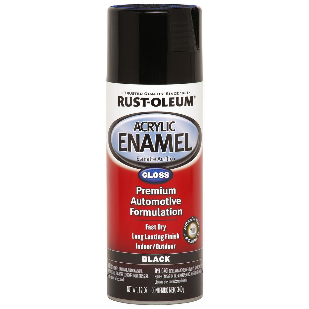 12 oz. Black Gloss Acrylic Enamel Spray Paint (6-Pack)