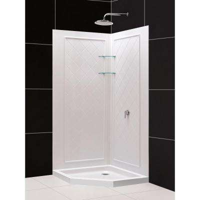 SlimLine 36 in. x 36 in. Neo-Angle Shower Base in White with Back-Walls