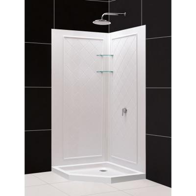 SlimLine 38 in. x 38 in. Neo-Angle Shower Base in White with Back-Walls