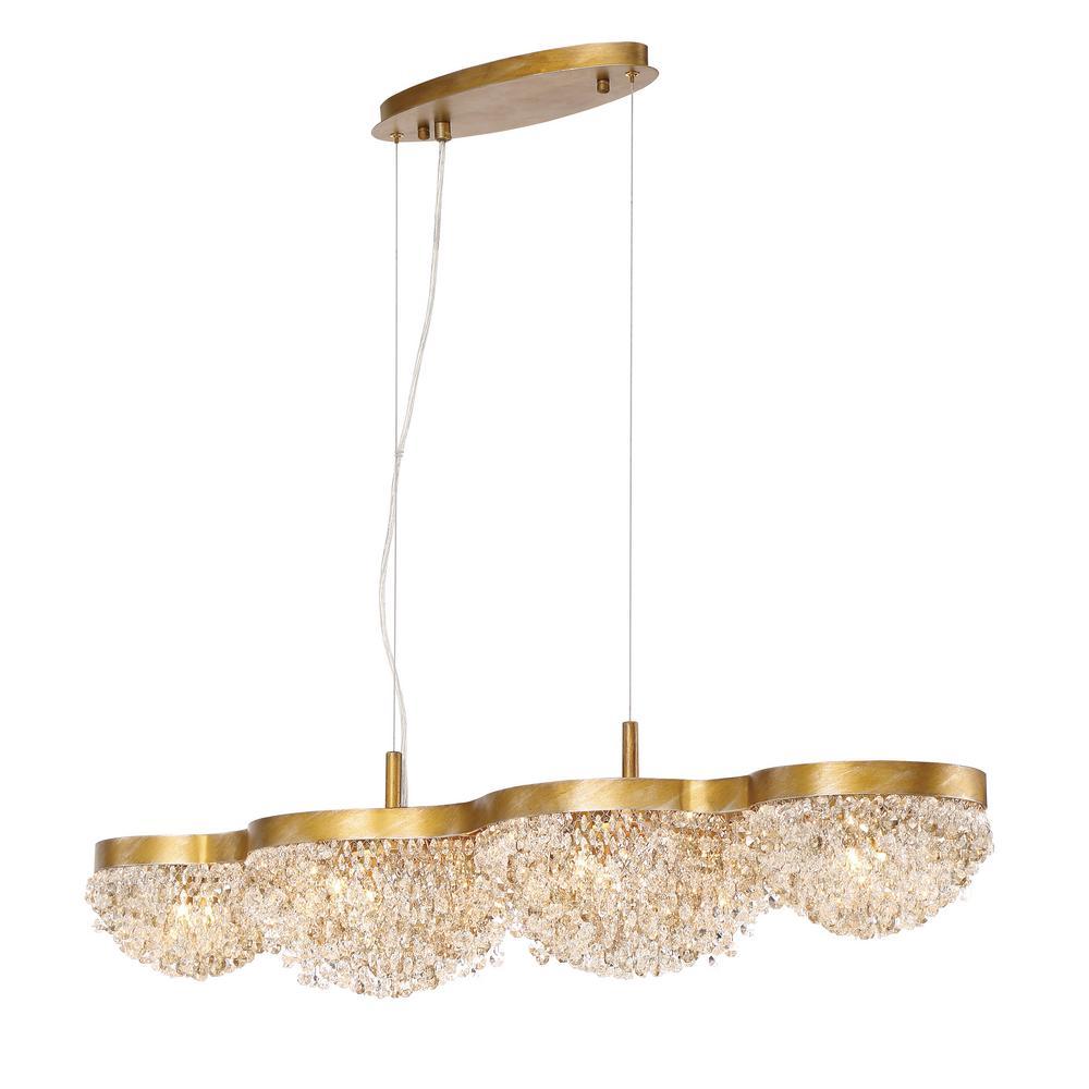 Eurofase mondo collection 10 light gold linear chandelier with eurofase mondo collection 10 light gold linear chandelier with clustered crystal shade aloadofball Choice Image