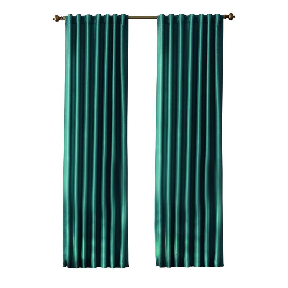 Home Decorators Collection Slub Faux Silk Light Filtering Window Panel in Teal - 54 in. W x 95 in. L