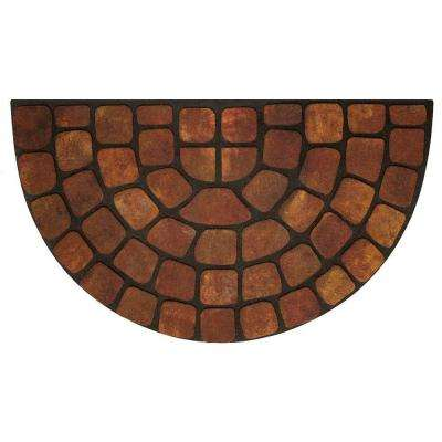 Beige Stone Slice 18 in. x 30 in. Raised Rubber Door Mat