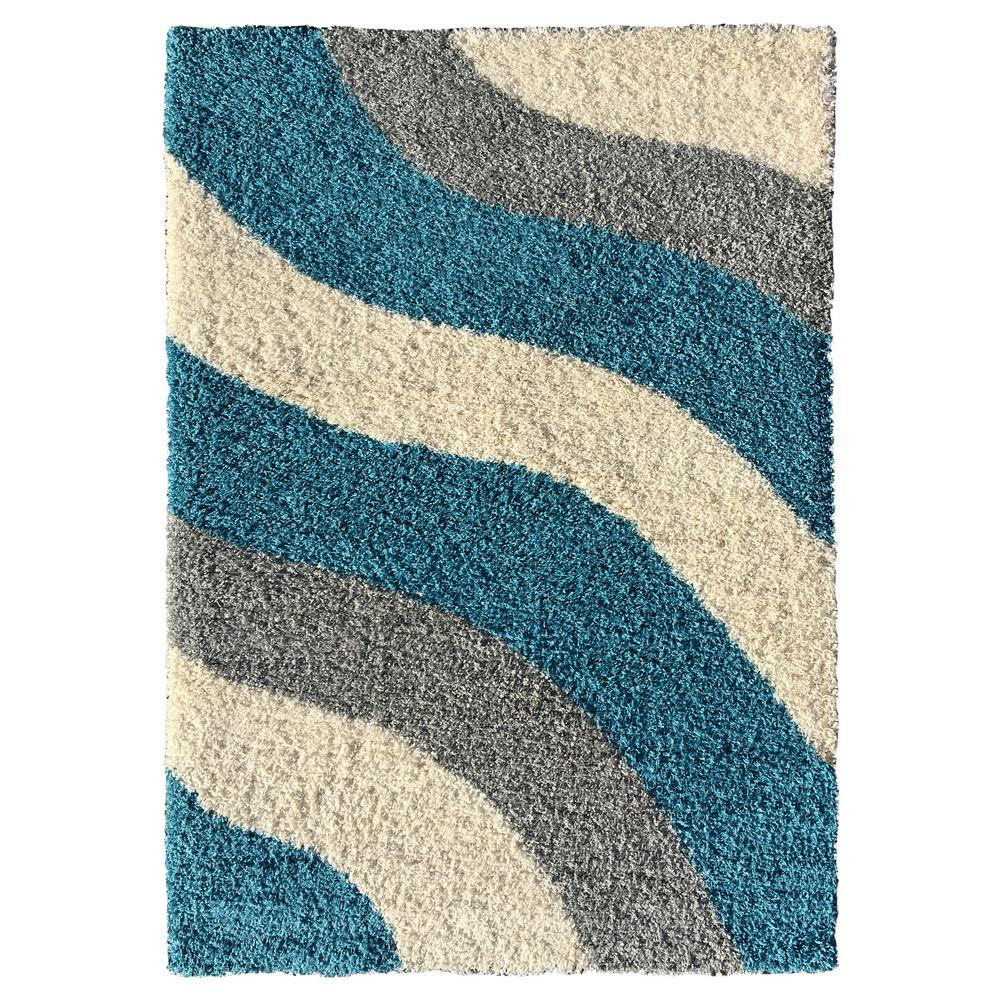 MAXY HOME Bella Collection Turquoise 2 ft. x 3 ft. Area Rug