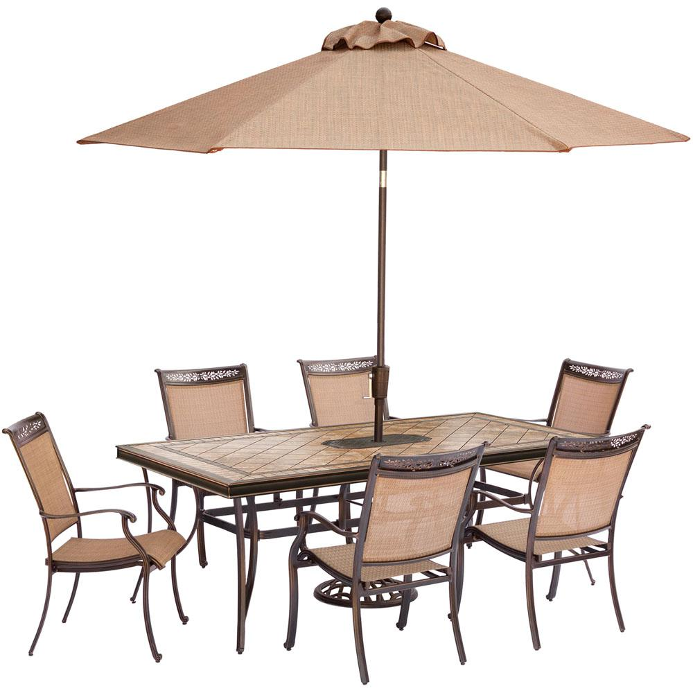 Hanover Fontana 7 Piece Aluminum Rectangular Outdoor Dining Set With Tile Top Table Umbrella And Base Fntdn7pctn Su The Home Depot