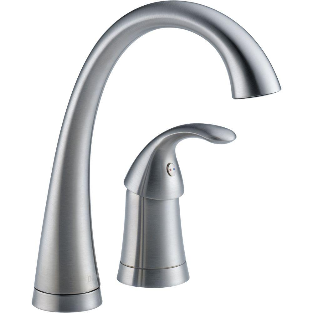 Delta Pilar Waterfall Single-Handle Bar Faucet in Arctic Stainless