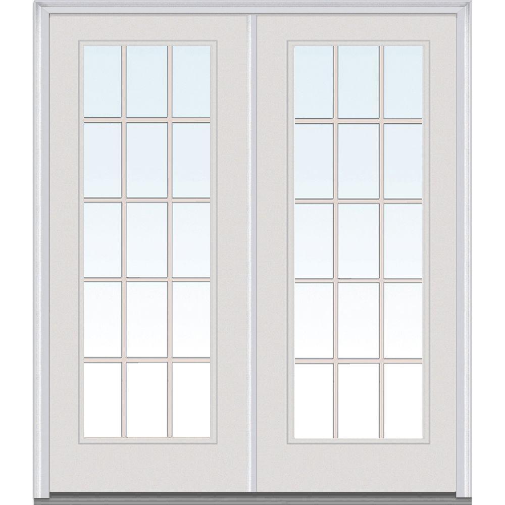 Mmi Door 64 In X 80 In Grilles Between Glass Left Hand Full Lite Classic Painted Steel Prehung