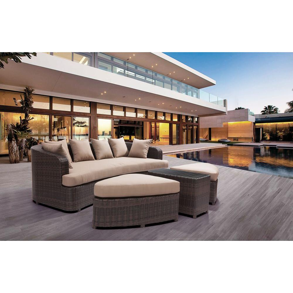 ZUO Cove Beach 4-Piece All-Weather Wicker Patio Lounge Set with Beige Cushions