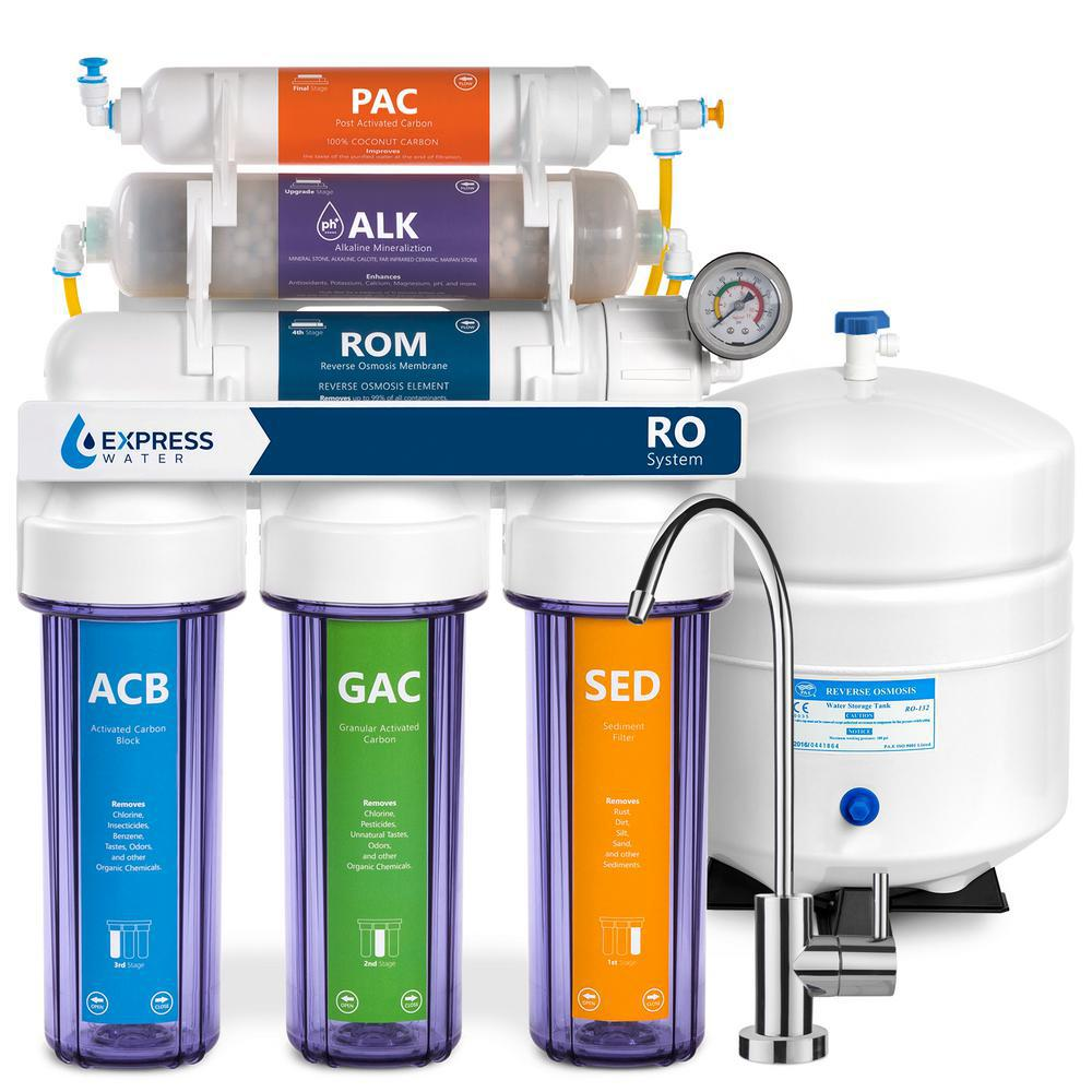 10-Stage Clear Alkaline Reverse Osmosis Water Filtration 100 GPD with Gauge