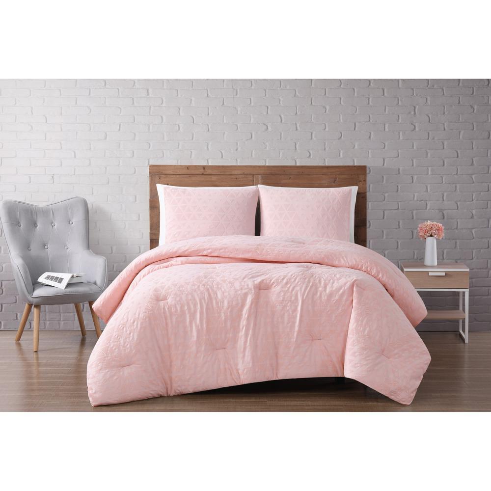 Chicago Woven Diamond 3-Piece Blush Full/Queen Comforter Set