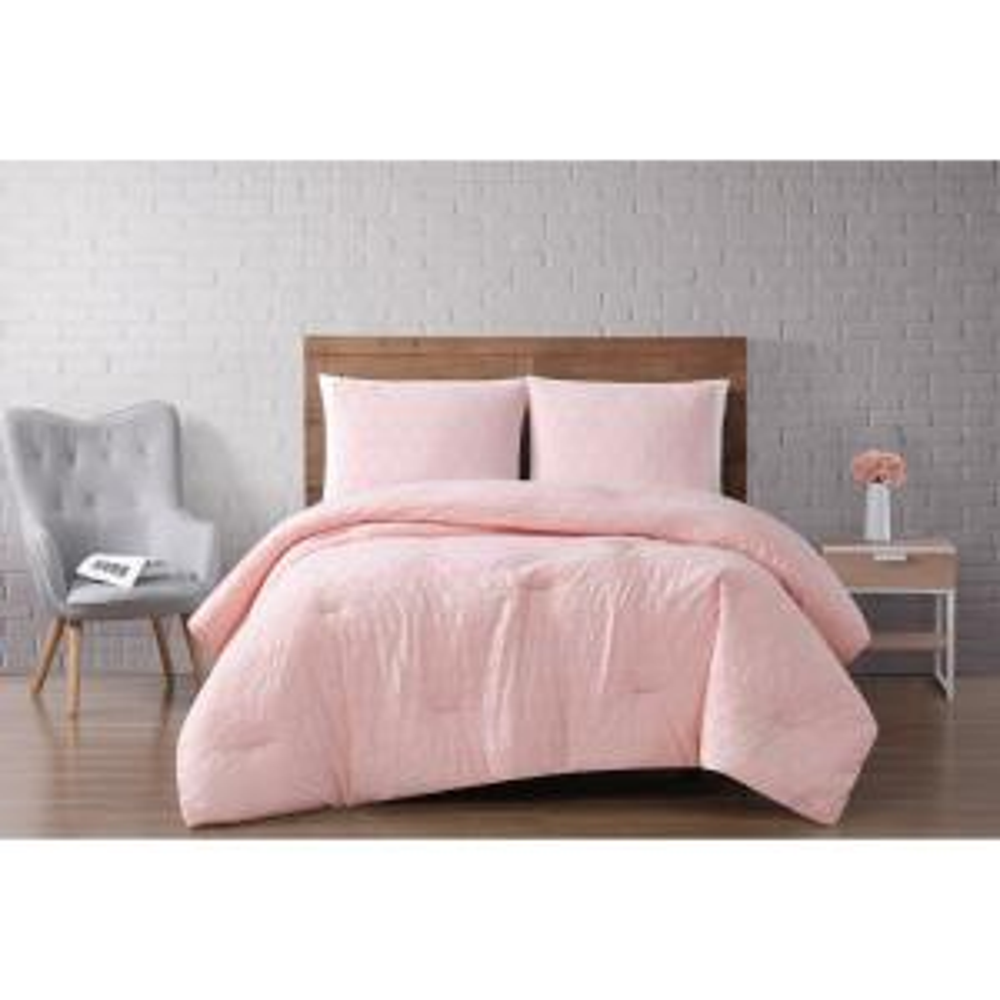 Chicago Woven Diamond 3-Piece Blush King Comforter Set