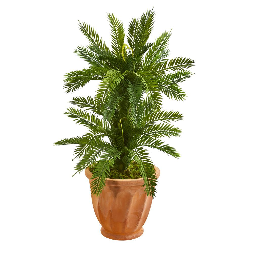 Nearly Natural Indoor 3 Ft Double Cycas Artificial Plant In Terra Cotta Planter 9202 The Home Depot