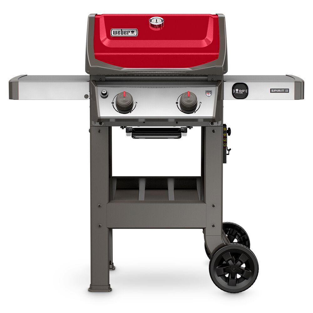 weber spirit ii e 210 2 burner propane gas grill in red 44030001 the home depot. Black Bedroom Furniture Sets. Home Design Ideas