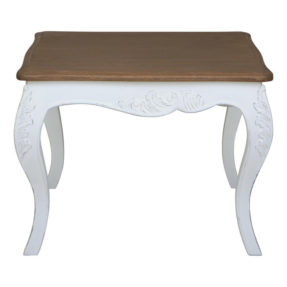 Ashbury Altesse Dark Oak Veneer And Antique White End Table