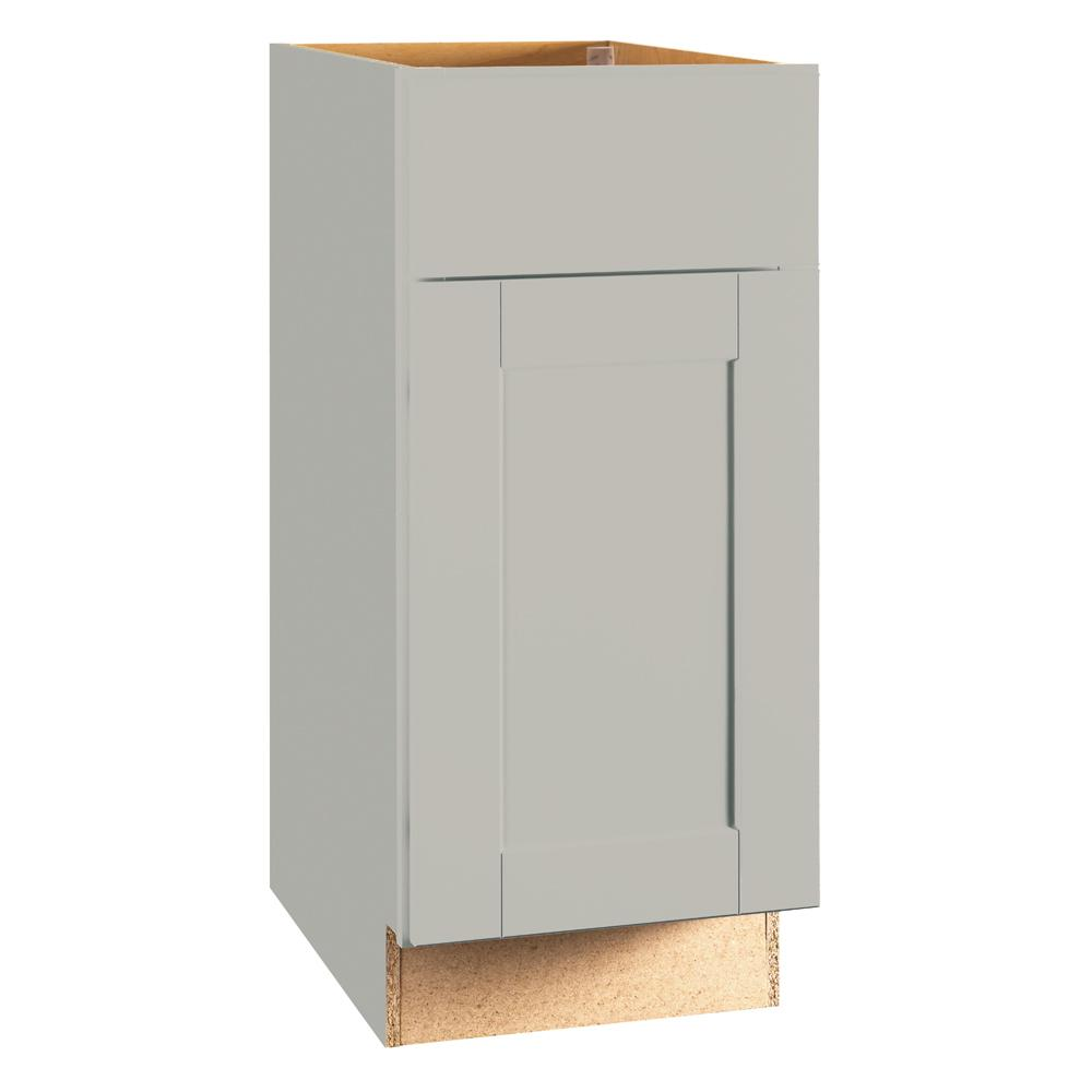 Hampton Bay Shaker Assembled 15x34.5x24 in. Base Kitchen Cabinet with Ball-Bearing Drawer Glides in Dove Gray