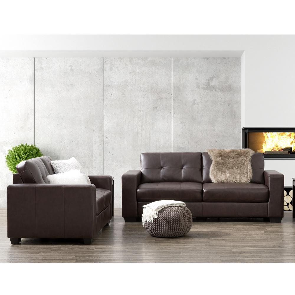 Corliving Club 2 Piece Tufted Chocolate Brown Bonded Leather Sofa