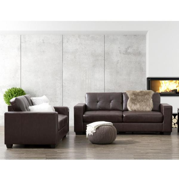 CorLiving Club 2-Piece Tufted Chocolate Brown Bonded Leather Sofa ...