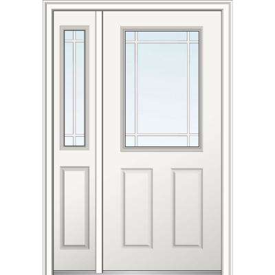 50 in. x 80 in. PIM 1/2-Lite 2-Panel Right-Hand Classic Primed Fiberglass Smooth Prehung Front Door with Right Sidelite