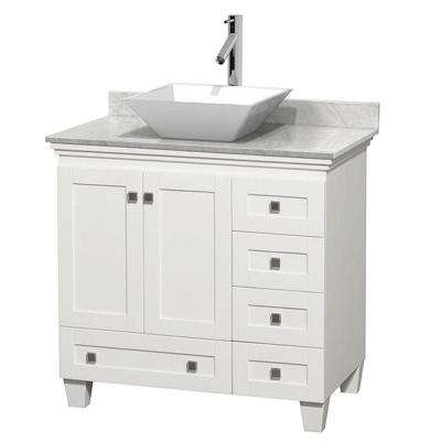 Acclaim 36 in. W Vanity in White with Marble Vanity Top in Carrara White and White Sink