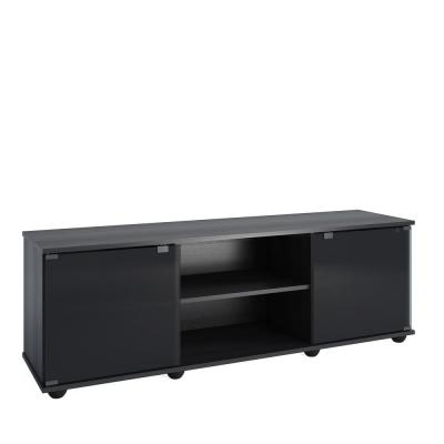 Fiji 60 in. Ravenwood Black TV Stand Fits TVs Up to 64 in. with Storage Doors