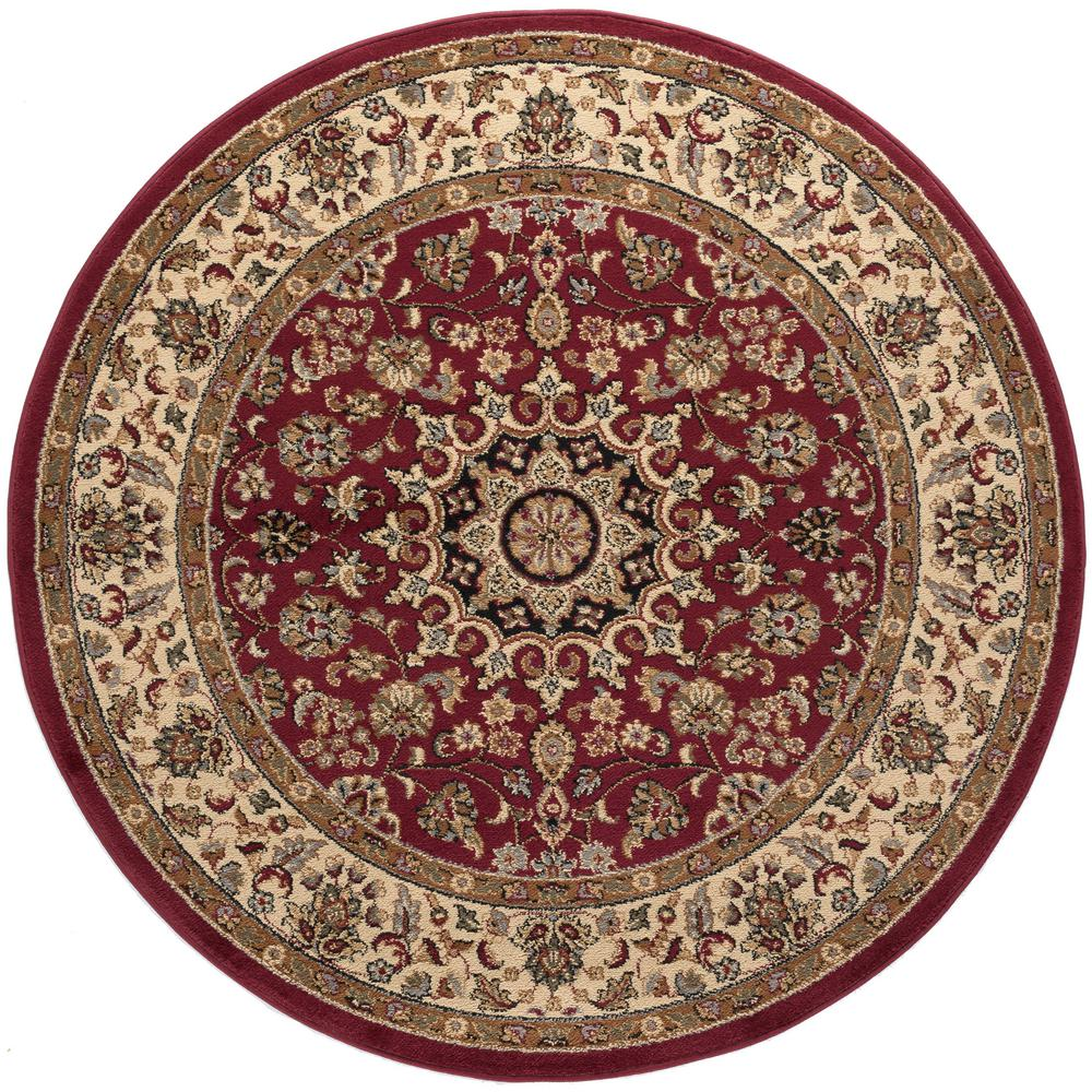 tayse rugs elegance red 5 ft 3 in x 5 ft 3 in round indoor area rug 5390 red 6 39 round the. Black Bedroom Furniture Sets. Home Design Ideas