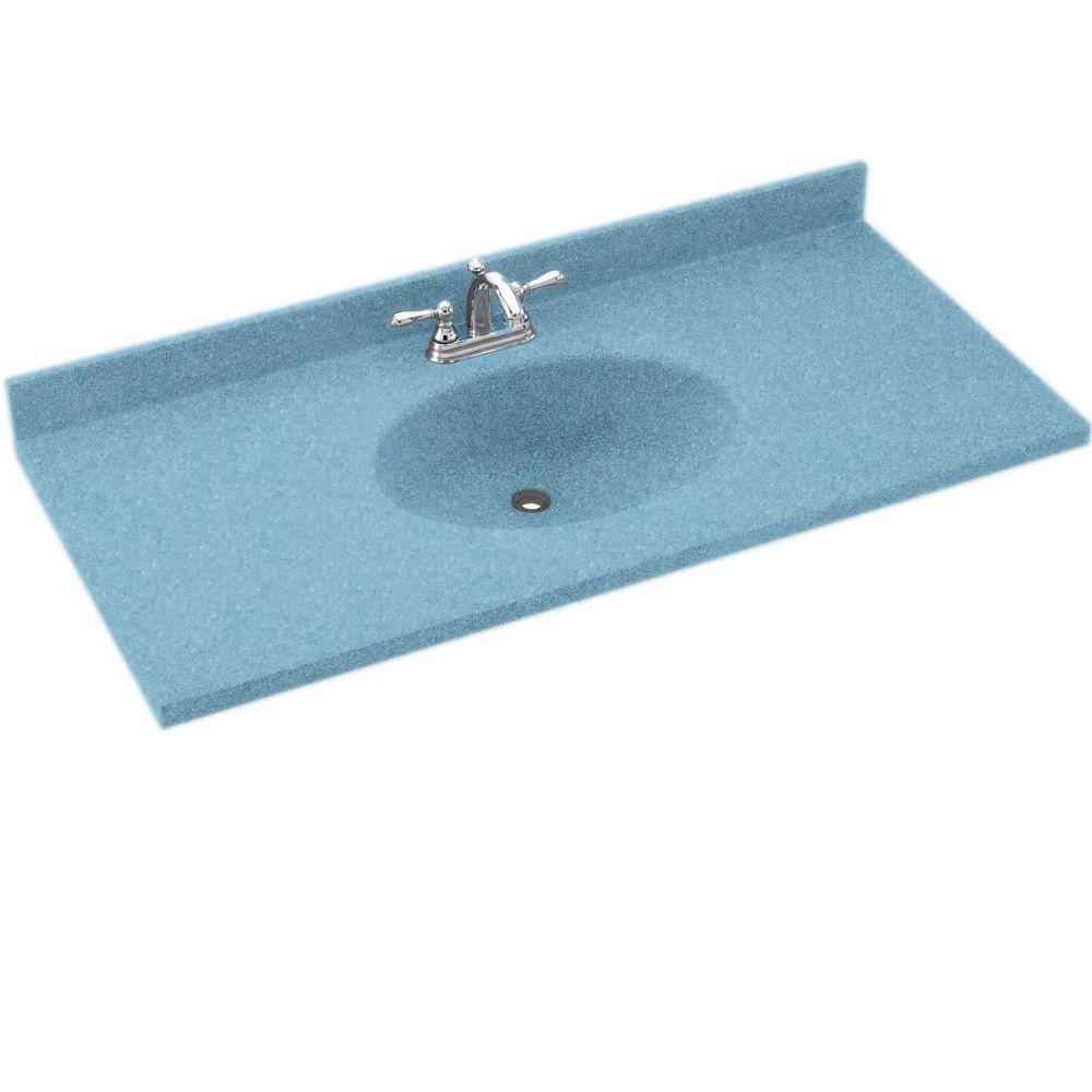 Swanstone Chesapeake 25 in. Solid Surface Vanity Top with Basin in Tahiti Blue-DISCONTINUED