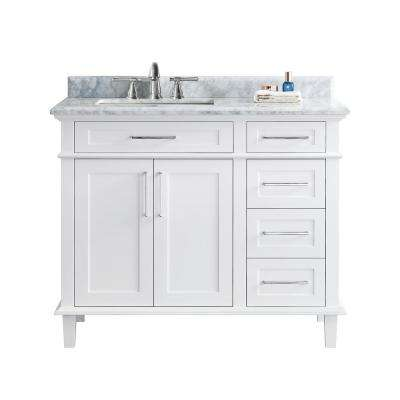 Newport 42 in. Single Bath Vanity in White with Marble Vanity Top in Carrara White with White Basin