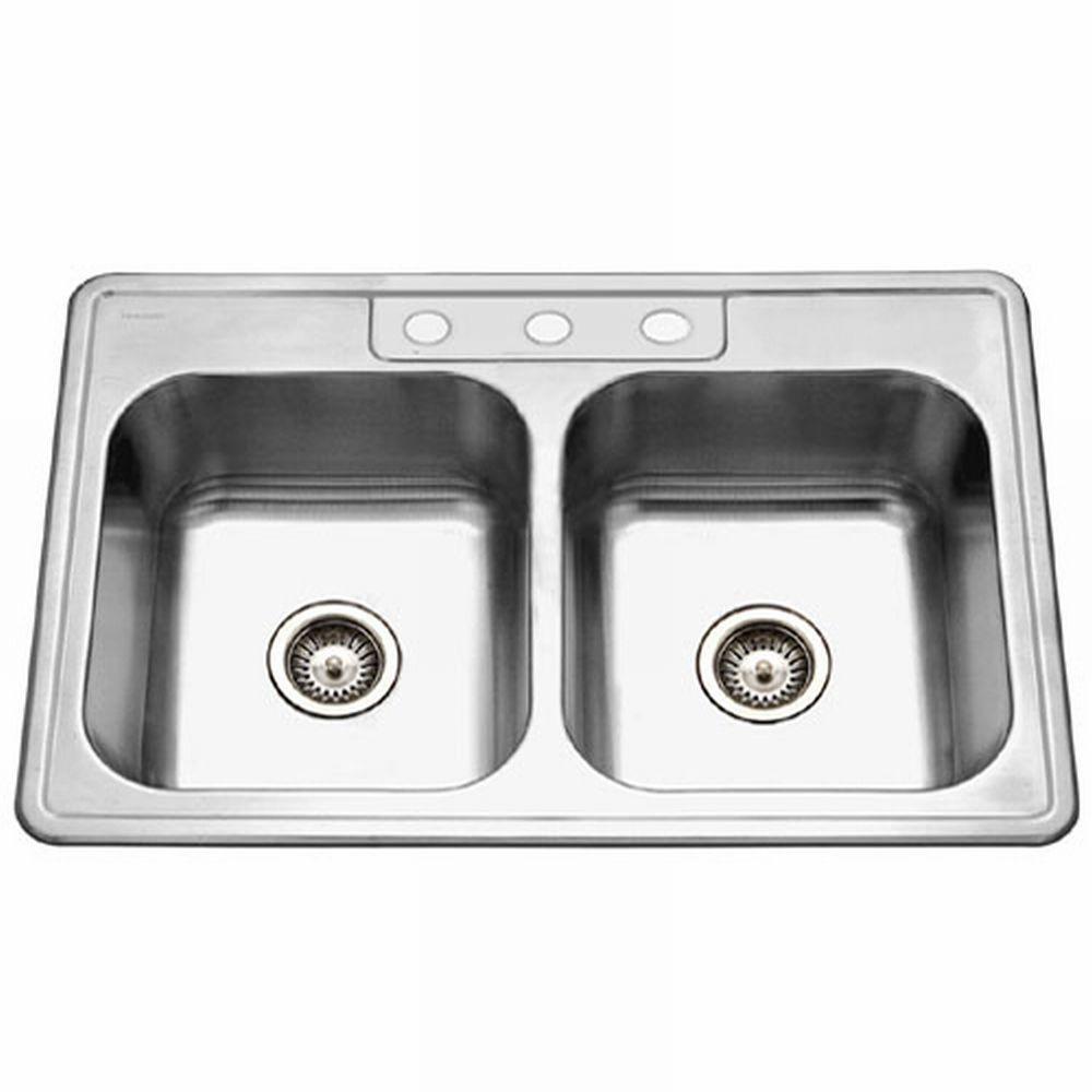 HOUZER Glowtone Series Drop-In Stainless Steel 33x22x6 3-Hole Double Basin Kitchen Sink