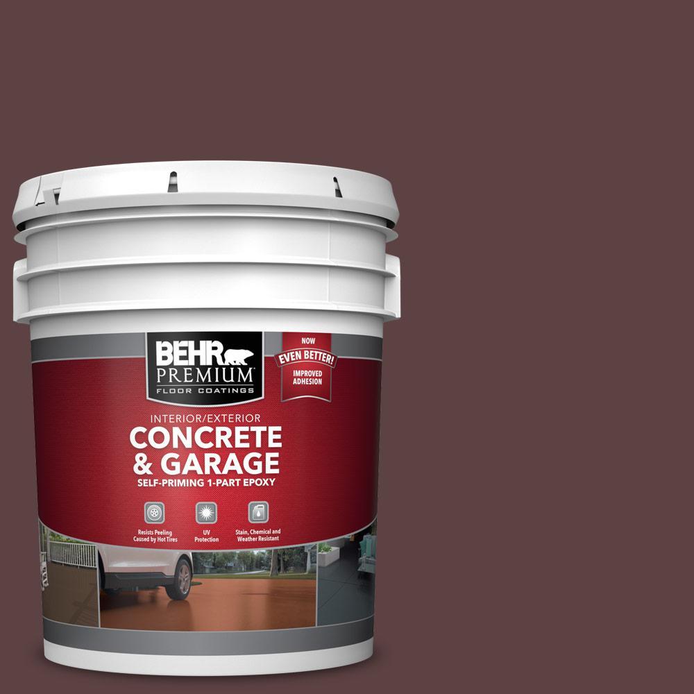 5 gal. #SC-106 Bordeaux Self-Priming 1-Part Epoxy Satin Interior/Exterior Concrete and Garage Floor Paint