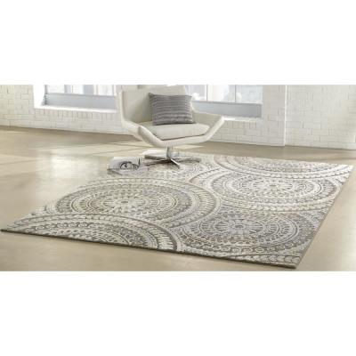 Spiral Medallion Gray 3 ft. x 5 ft. Geometric Area Rug