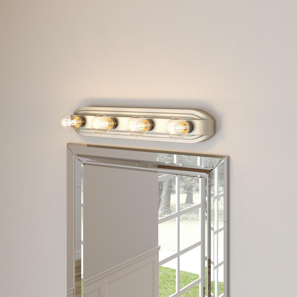 Hampton Bay 4-Light Brushed Nickel Bath Modern Vanity Bathroom LIghting Fixture