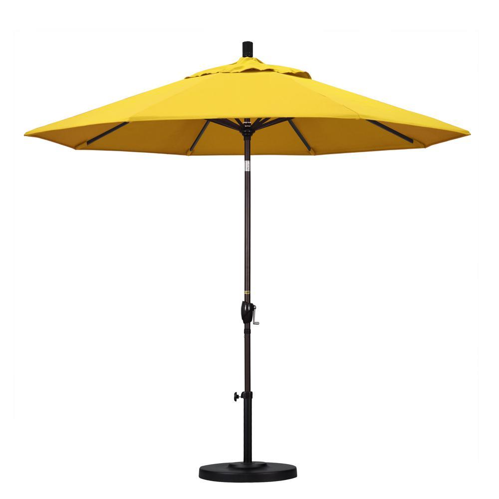 California Umbrella 9 ft. Aluminum Push Tilt Patio Umbrella in Lemon Olefin