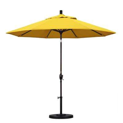 9 ft. Aluminum Push Tilt Patio Umbrella in Lemon Olefin