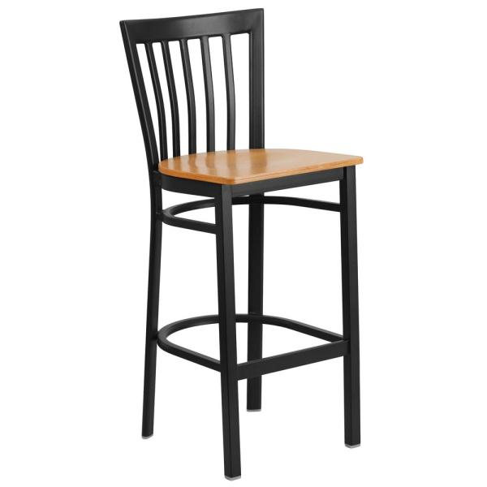 Flash Furniture Carnegy Avenue 29 in. Natural Wood Seat/Black Metal Frame