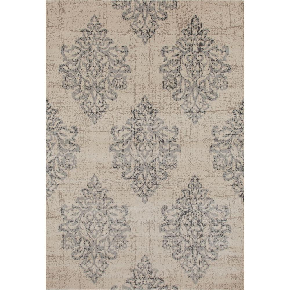 Lovely World Rug Gallery Transitional Damask High Quality Soft Gray 5 Ft. 3 In. X