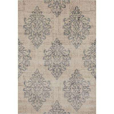 Transitional Damask High Quality Soft Gray 5 ft. x 7 ft. Area Rug