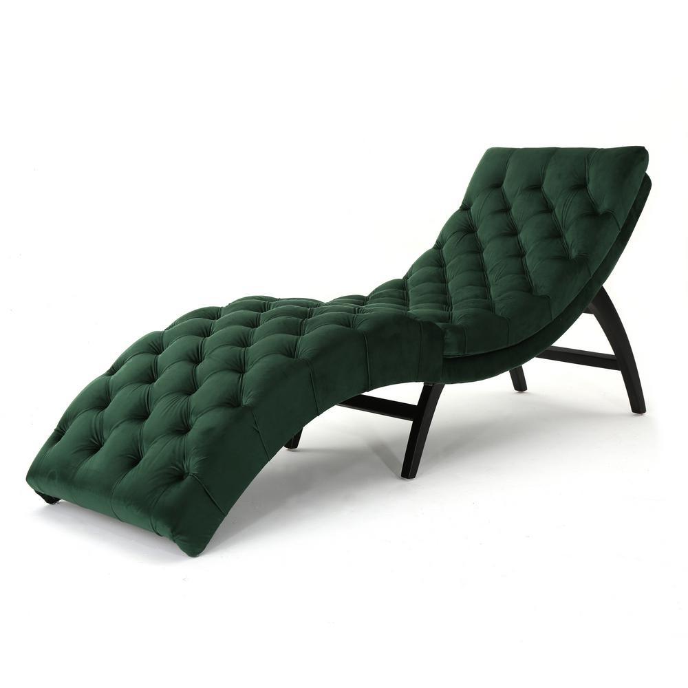 Garret Tufted Emerald Velvet Chaise Lounge