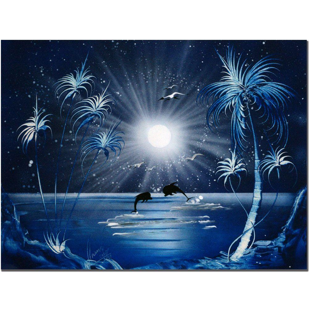 Trademark Fine Art 18 in. x 24 in. Dolphins at Night Canvas Art