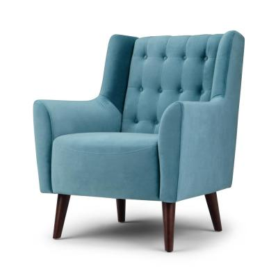 Bennett 31 in. Wide Classic Contemporary Tufted Back Accent Chair in Ocean Blue Velvet