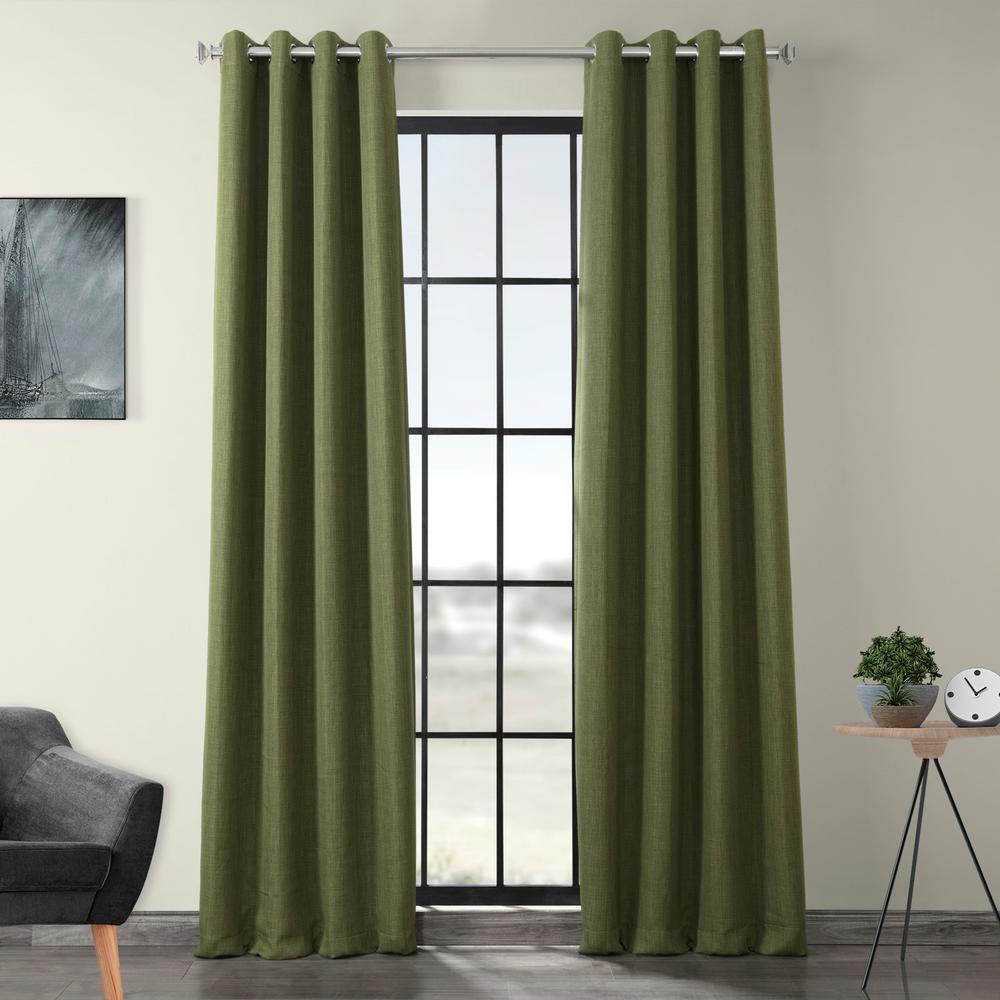 Tuscany Green Faux Linen Grommet Blackout Curtain - 50 in. W x 120 in. L