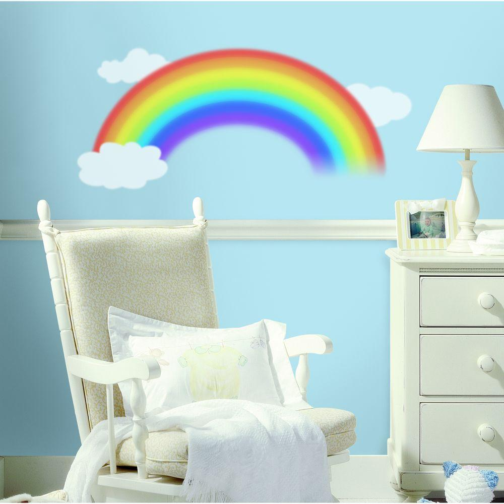 RoomMates 18 in. x 40 in. Over the Rainbow 4-Piece Peel and Stick Giant Wall Decal