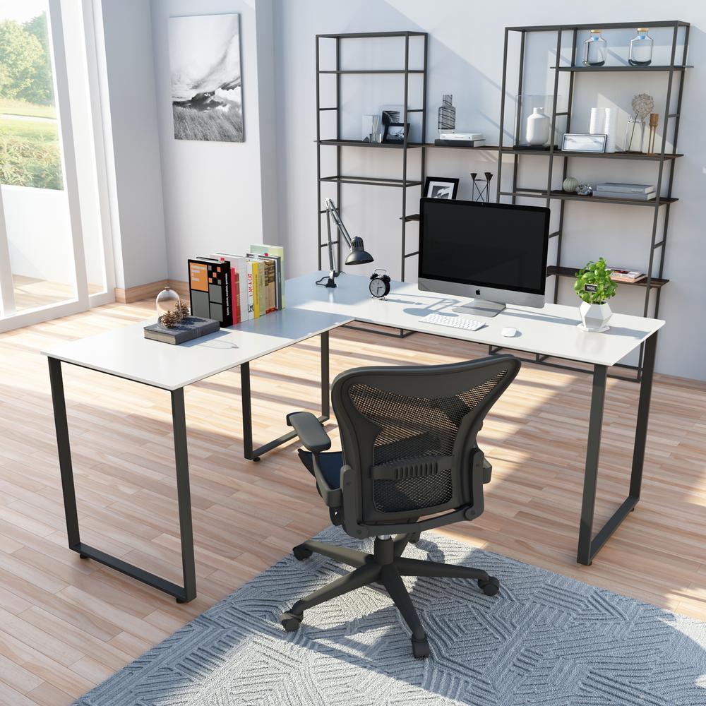 Merax White L-Shaped Workstation Laptop Table Corner Desk MF189576AAK